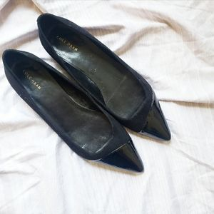 Cole Haan point toe shiny black flats size 10